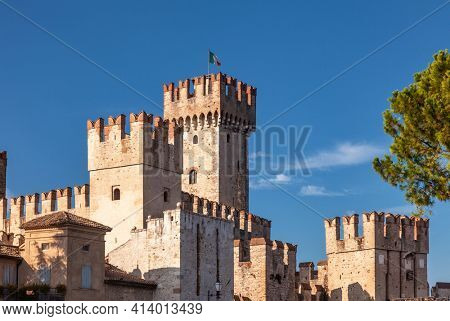 Scaligero Castle at Sirmione, a resort town on the southern shore of Lake Garda in Northern Italy, one of Italy's best preserved castles and most visited tourist attractions in Italy