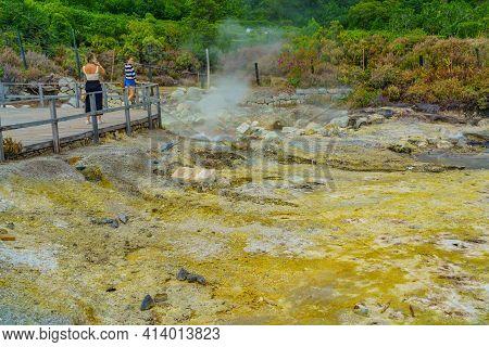 Furnas August 30. 2020: Hotsprings Of The Lake Furnas. Sao Miguel, Azores. Lagoa Das Furnas Hotsprin