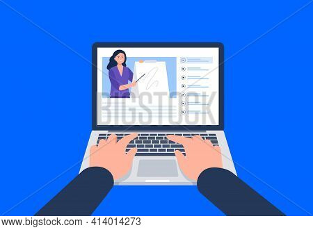 A Man Is Watching A Video On The Laptop. Watching A Course, Webinar, Tutorials Online. Vector Flat I