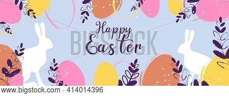 Happy Easter Banner. Easter Rabbit, Easter Bunny. Vector Illustration. Trendy Easter Design With Typ