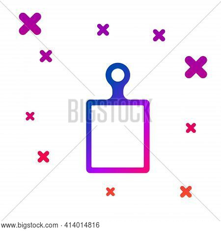Blue Cutting Board Icon Isolated On White Background. Chopping Board Symbol. Abstract Circle Random