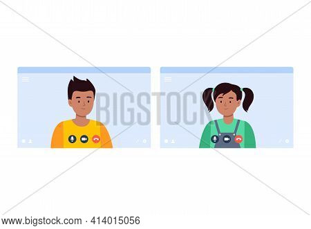 An Indian Boy And A Girl Talk On A Video Call. Virtual Communication With Friends, Classmates. Vecto