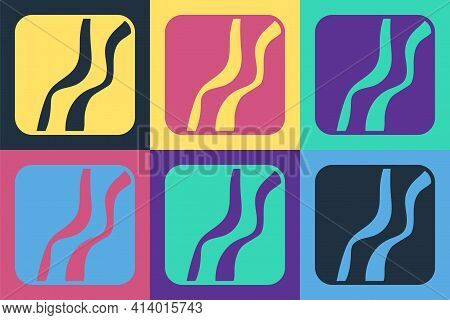 Pop Art Snake Paw Footprint Icon Isolated On Color Background. Vector