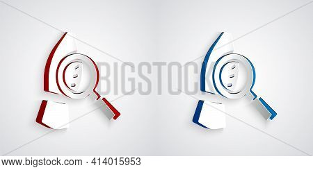 Paper Cut Magnifying Glass With Footsteps Icon Isolated On Grey Background. Detective Is Investigati