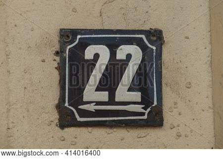 Weathered Grunge Square Metal Enamelled Plate Of Number Of Street Address With Number 22
