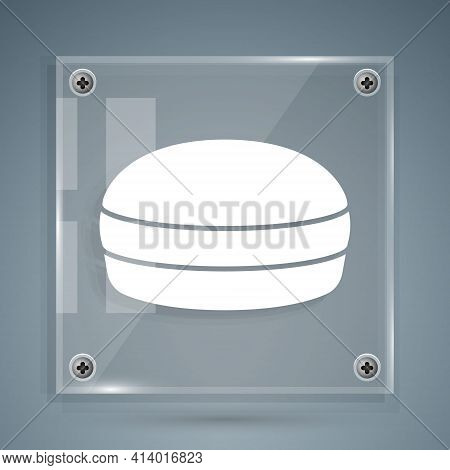 White Macaron Cookie Icon Isolated On Grey Background. Macaroon Sweet Bakery. Square Glass Panels. V