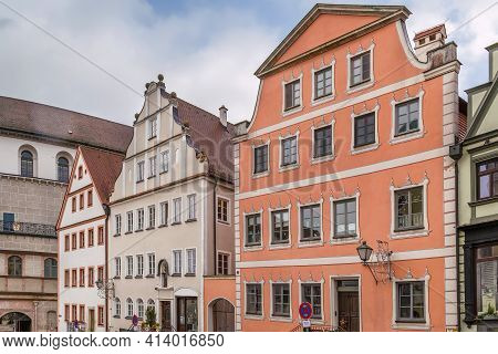 Street With Historical Houses In Neuburg An Der Donau, Germany