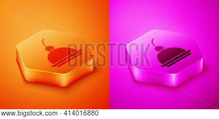 Isometric Cherry Cheesecake Slice With Fruit Topping Icon Isolated On Orange And Pink Background. He