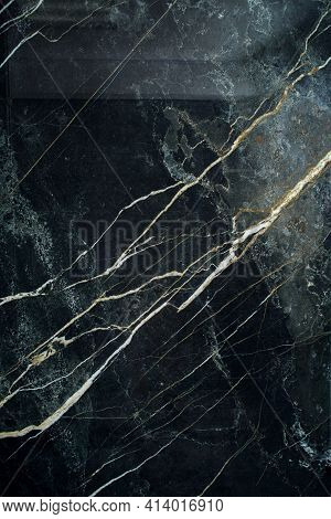 Ceramic Porcelain Stoneware Tile Texture Or Pattern. Natural Stone Black Color With Veining