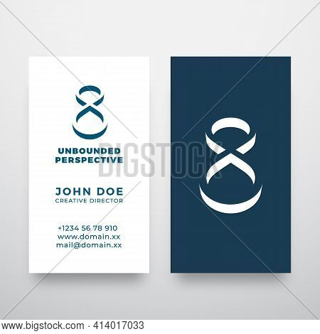 Unbounded Perspective Abstract Modern Vector Logo And Business Card Template. Infinity Symbol In A N