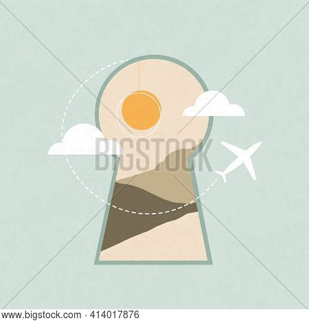 Travel And Tourism. Doorway Square Banner In Boho Style. For Posts In Social Networks-square Noteboo