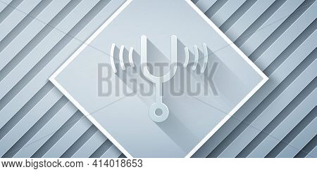Paper Cut Musical Tuning Fork For Tuning Musical Instruments Icon Isolated On Grey Background. Paper