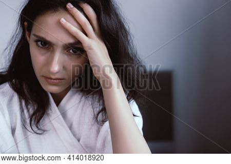 Stressed Women Get Insomnia, Depression Disorder Young Adult Can Not Sleep All Night Because She Thi