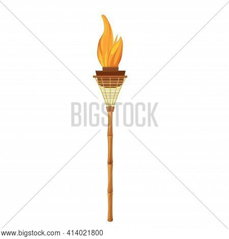 Tiki Torch With Bamboo Stick With Flame In Cartoon Style Isolated On White Background. Hawaiian Deco