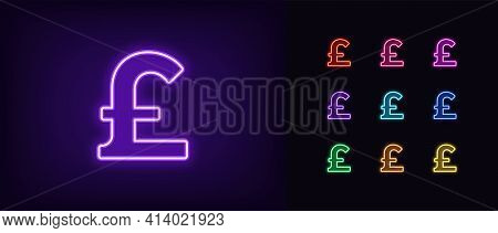 Neon Pound Sterling Icon. Glowing Neon Pound Sign, Outline Money Symbol In Vivid Colors. Online Bank