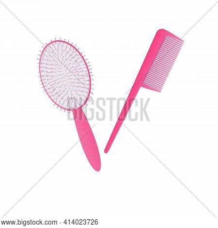 A Pink Hair Comb Or Comb On A White Background. Vector Illustration. Comb Set