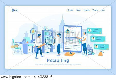 Recruitment, Human Resources. Analyzing Personnel Resume. Vacant Workplace. Hr Managers Choosing Can