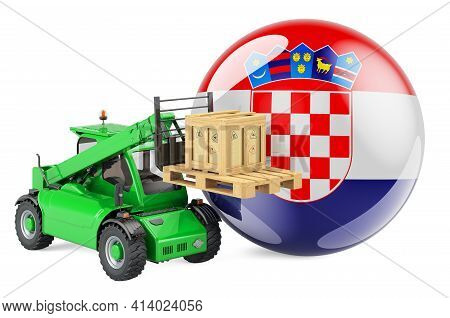 Croatian Flag With Telescopic Handler Truck And Parcel. Cargo Shipping In Croatia Concept, 3d Render