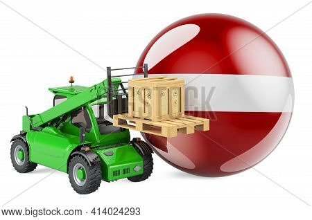 Latvian Flag With Telescopic Handler Truck And Parcel. Cargo Shipping In Latvia Concept, 3d Renderin