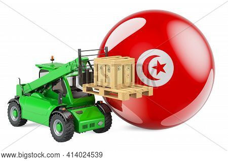 Tunisian Flag With Telescopic Handler Truck And Parcel. Cargo Shipping In Tunisia Concept, 3d Render