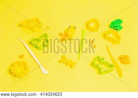 Colorful Modeling Clay, Tools, And Forms Isolated On White Background