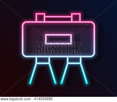 Glowing Neon Line Military Mine Icon Isolated On Black Background. Claymore Mine Explosive Device. A
