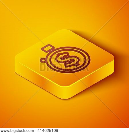 Isometric Line Time Is Money Icon Isolated On Orange Background. Money Is Time. Effective Time Manag