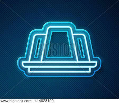 Glowing Neon Line Jelly Cake Icon Isolated On Blue Background. Jelly Pudding. Vector
