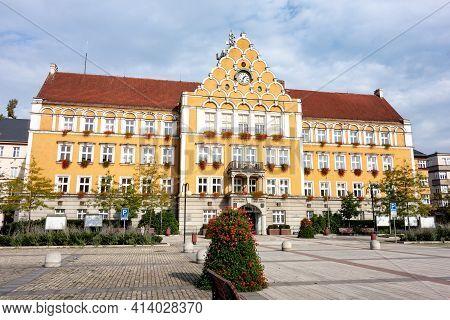 Cesky Tesin, Czech Republic - October 7, 2018: The City Hall Building In The Center Of Cesky Tesin C