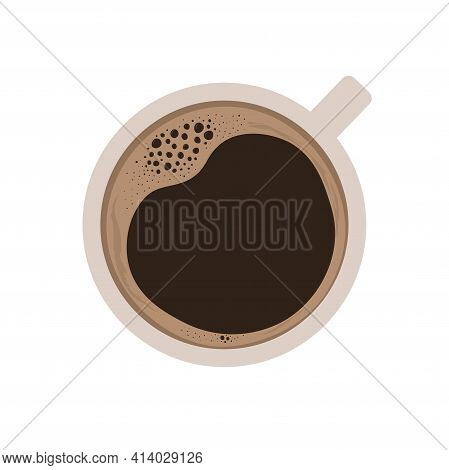 Cup Of Coffee With Foam Top View. Hot Americano Or Espresso. Black Coffee. Hot Drink. Vector Illustr