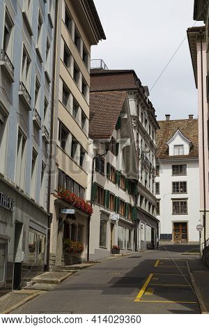 17.08.2019 Street With Old Houses Of Village Einsiedeln, Main Religious Pilgrimage Center In Switzer