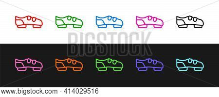 Set Line Triathlon Cycling Shoes Icon Isolated On Black And White Background. Sport Shoes, Bicycle S