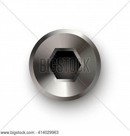 Metal Bolt Or Screw Head, Steel Hexagon Rivet. Silver Or Chrome Shiny Cap Or Screwhead Vector Illust