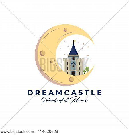 Dream Castle Line Art Logo Vector Illustration Design, Castle On The Moon Logo