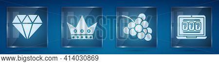 Set Diamond, King Playing Card, Casino Slot Machine With Grape And Laptop And Slot Machine. Square G