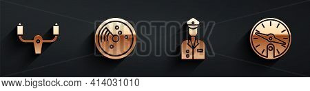 Set Aircraft Steering Helm, Radar With Targets On Monitor, Pilot And Compass Icon With Long Shadow.