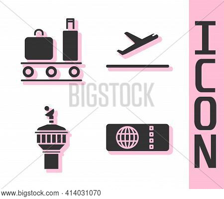 Set Airline Ticket, Airport Conveyor Belt With Suitcase, Radar And Plane Takeoff Icon. Vector