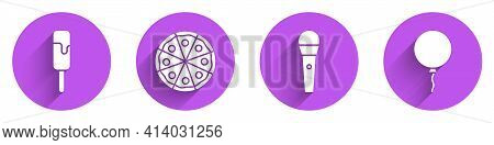 Set Ice Cream, Pizza, Karaoke Microphone And Balloon With Ribbon Icon With Long Shadow. Vector