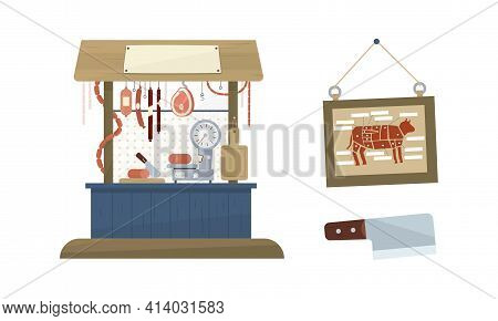 Butcher Shop Or Meat Market With Stall And Hanging Sausage Vector Set