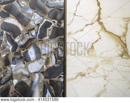 Exhibition In A Ceramic Tile Shop. A Combination Of Two Types Of Stoneware Slabs With A Natural Ston