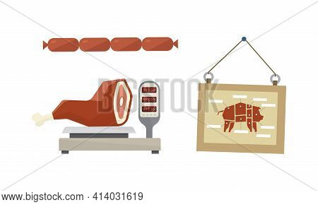 Butcher Shop Or Meat Market With Sausage And Smoked Leg On Scales Vector Set