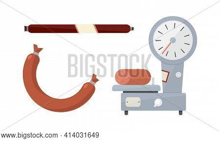 Butcher Shop Or Meat Market With Sausage On Platform Balance Vector Set