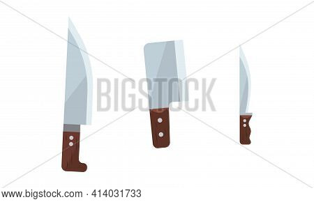 Cleaver Or Kitchen Knives As Tool With Blade And Wooden Handle Vector Set