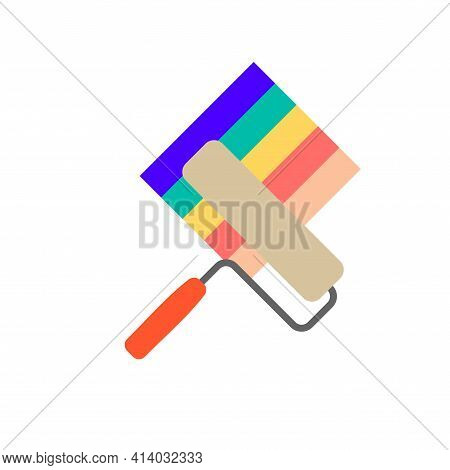 Paint Roller. Renovation Symbol. Home Repair, Finishing Works. Vector Illustration Isolated On White