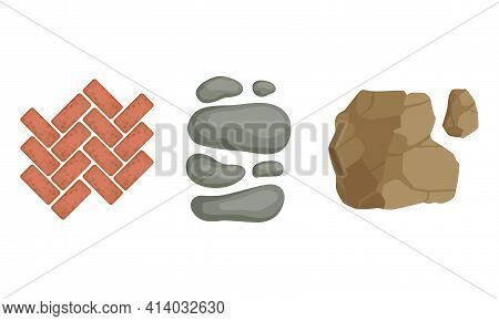 Pebbles And Block For Pavement And Garden Walkway As Landscape Elements Vector Set
