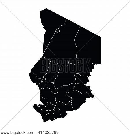 Chad Country Map Vector With Regional Areas