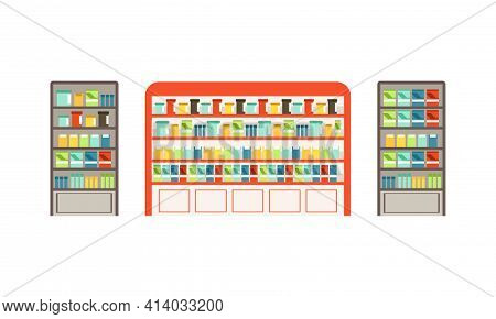 Merchandise Shelf And Vending Machine As Supermarket Grocery Store With Products Assortment Vector S