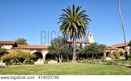SAN JUAN CAPISTRANO, CALIFORNIA - 12 JAN 2017: Central Courtyard of the 7th mission founded in 1776 by Father Junipero Serra.