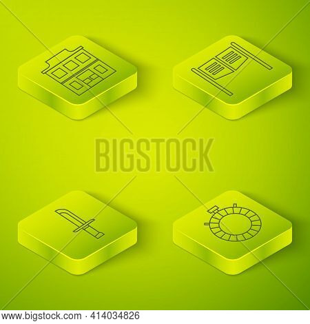 Set Isometric Saloon Door, Military Knife, Canteen Water Bottle And Wild West Saloon Icon. Vector