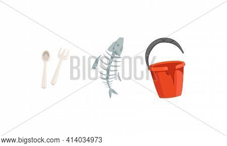 Garbage And Waste With Broken Pail And Fish Bone Vector Set
